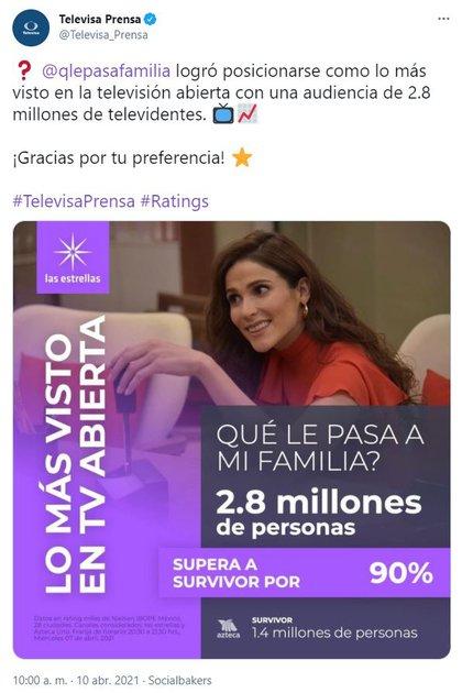 Así anunció Televisa las cifras sobre el rating de ¿Qué le pasa a mi familia? (Foto: captura de pantalla de Twitter/@Televisa_prensa)