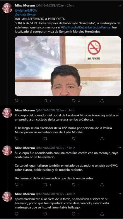 (Foto: captura de pantalla de Twitter @MINAMORENAlex).
