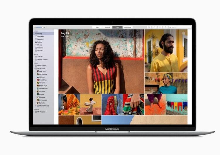 MacBook Air viene con el chip de seguridad Apple T2, que verifica que el software cargado durante el proceso de arranque no haya sido manipulado y proporciona cifrado de datos para todo lo almacenado en el SSD