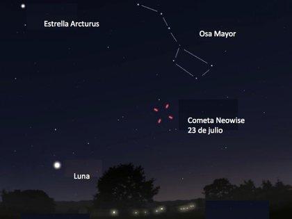 Observación del cometa en el hemisferio norte (Foto: Twitter Julieta Fierro @FierroGossman)