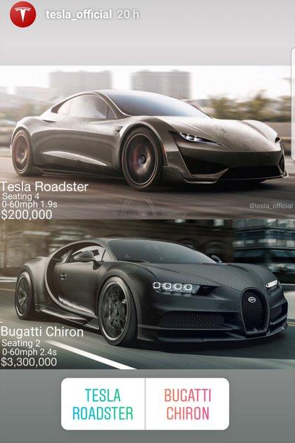 El duelo planteado por Tesla en sus redes sociales: el Roadster contra el Bugatti Chiron. (Instagram @tesla_official)