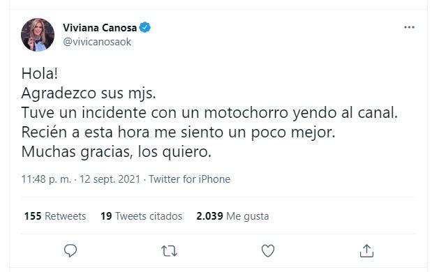 Tweet de Viviana Canosa