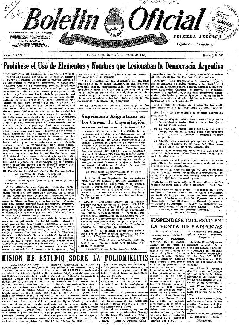 La prohibición de nombrar a Perón y Evita y de borrar todo vestigio de peronismo fue publicado en el boletín oficial.