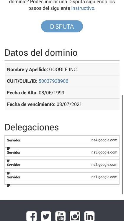 En el sitio web Nic Argentina figura que el dominio de la URL le pertenece a Google Argentina, tras las fallas que presentó ayer por la noche