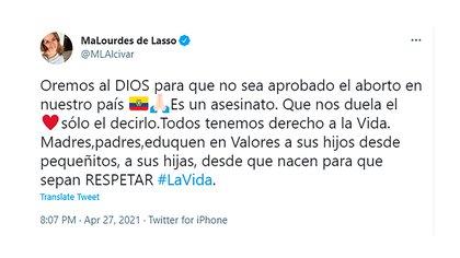 El tuit contra el aborto de la próxima primera dama de Ecuador