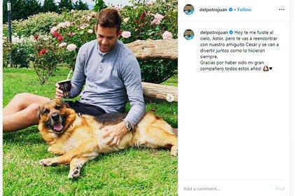 Delpo y Astor, junto al mensaje que publicó en su cuenta de Instagram