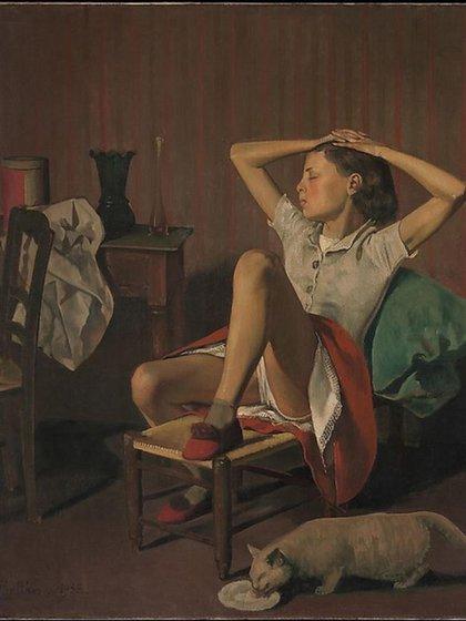 """""""Teresa durmiendo"""" (1938), Balthus. Óleo sobre lienzo (149.9 x 129.5 cm) en MET"""