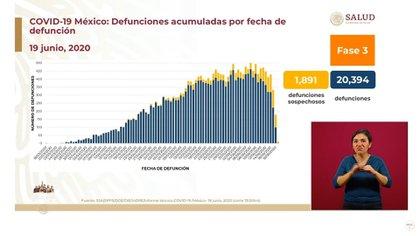 Defunciones acumuladas por fecha de defunción (Foto: SSa)