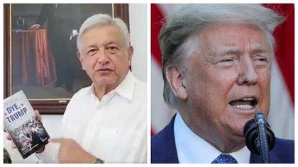 """En 2017, AMLO presentó su libro """"Oye, Trump"""", donde defiende a los migrantes de la campaña de odio del presidente de EEUU (Foto: Especial)"""