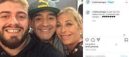 El posteo de Cristiana Sinagra para despedir a Diego Maradona