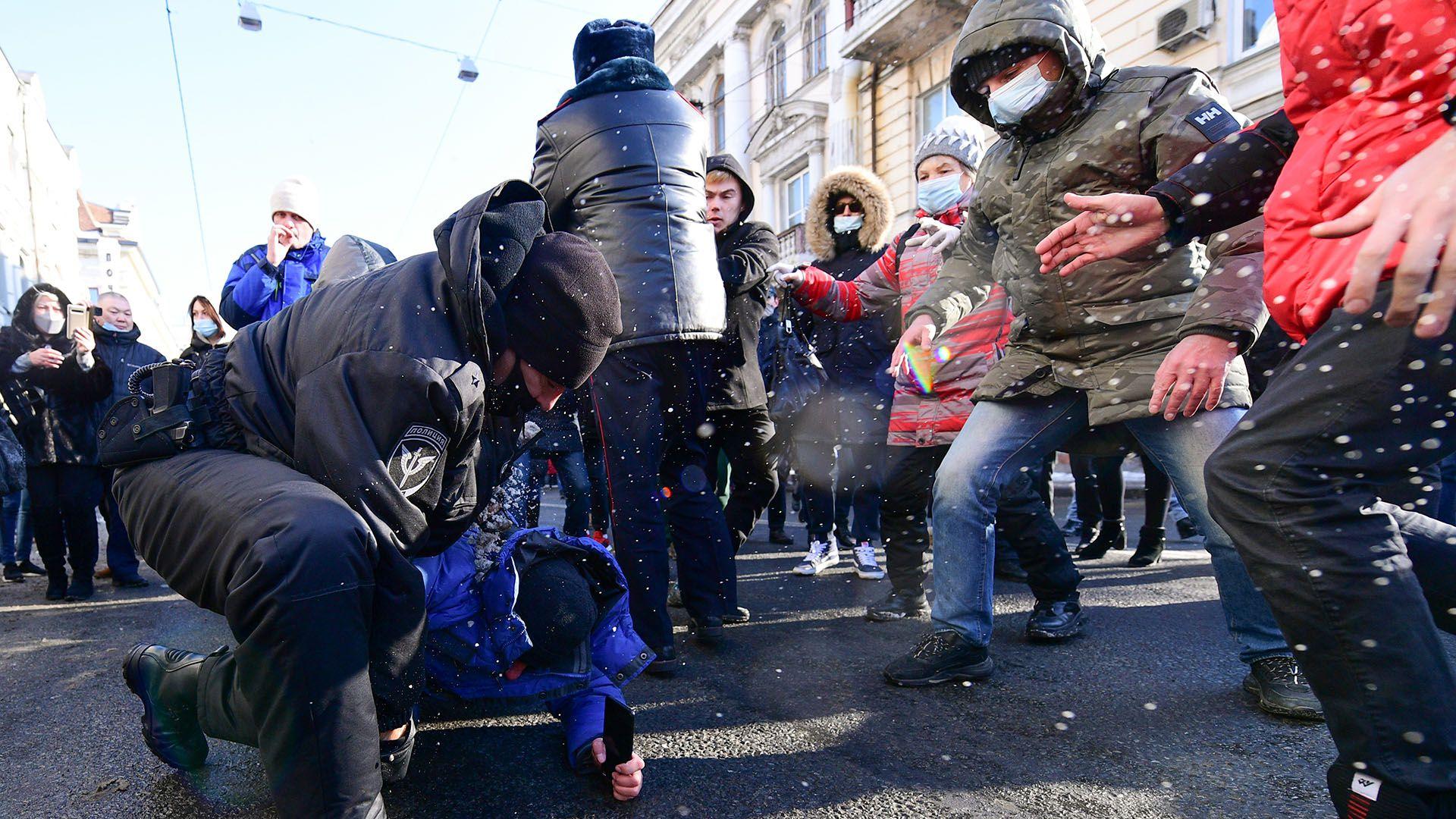 protestas manifestacion y detenciones navalny rusia