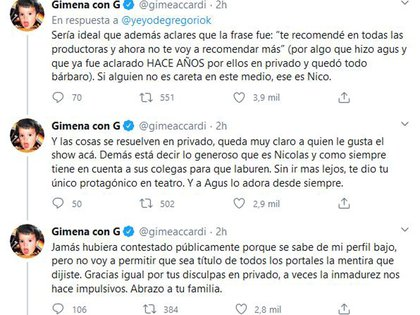 La bronca de Gimena Accardi contra De Gregorio por haber criticado a su pareja (Foto: Twitter)