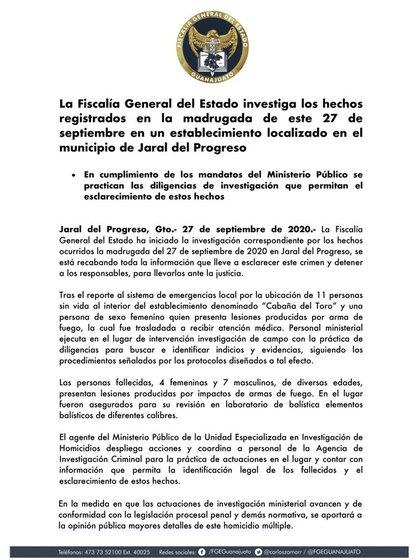 La Fiscalía General del Estado (FGE) ya difundió su postura oficial ante el tiroteo en Guanajuato (Foto: Twitter/ @FGEGUANAJUATO)