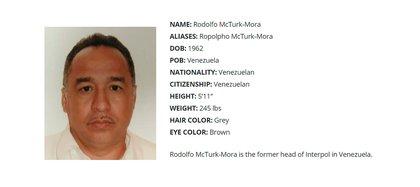 jefes inteligencia venezolanos Rodolfo McTurk-Mora, exjefe de Interpol en Venezuela