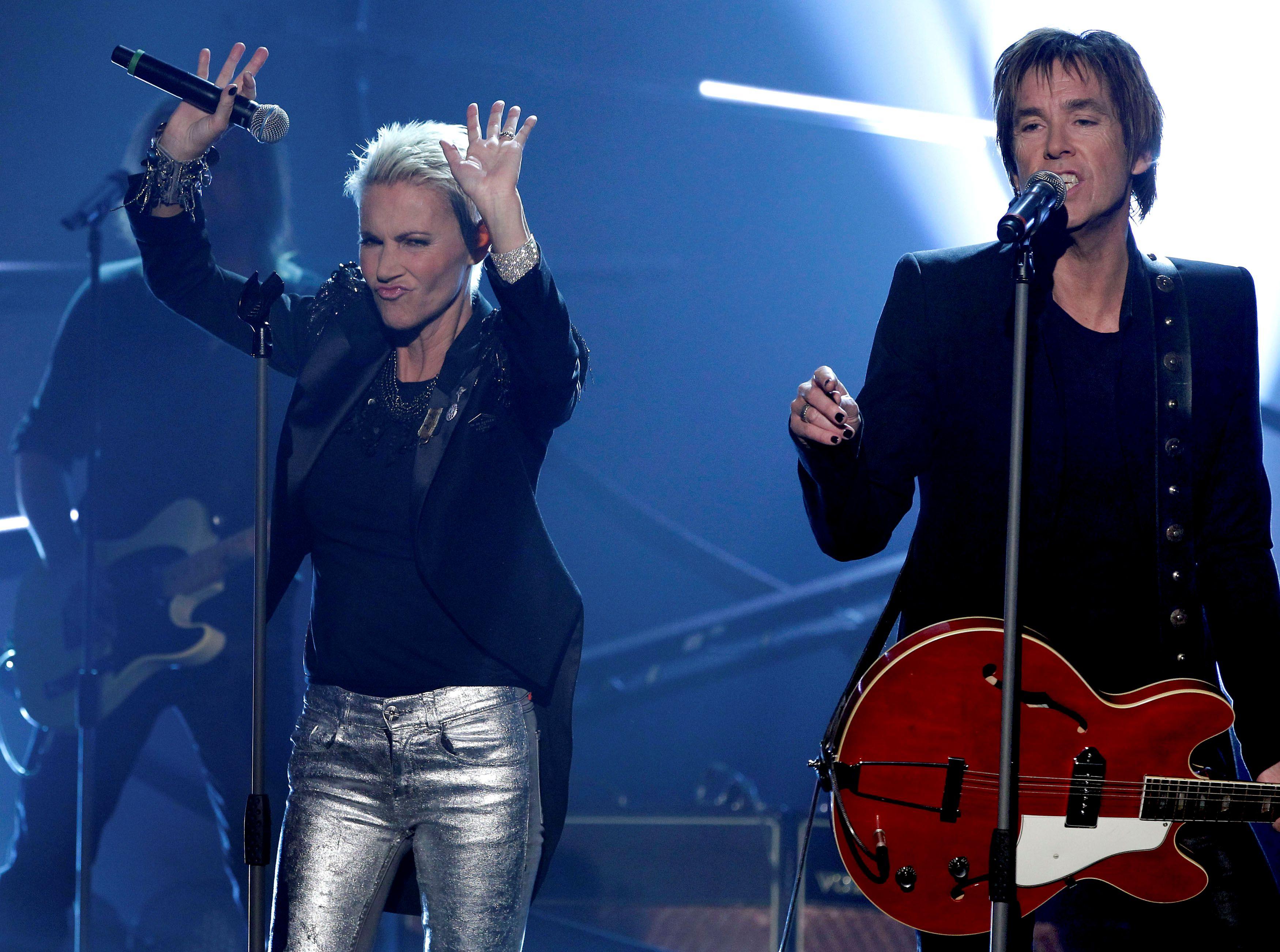 Marie Fredriksson y Per Gessle, miembros del dueto sueco, Roxette