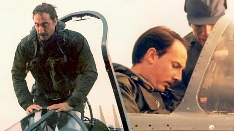 Los pilotos Augusto Bedacarratz y Francisco Mayora al regresar de la exitosa misión del 4 de mayo: era la primera vez que misiles Exocet debutaban en un conflicto bélico