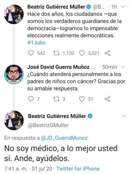 Así fue la respuesta de la también catedrática de la Benemérita Universidad Autónoma de Puebla (Foto: Twitter/ @BeatrizGMuller)