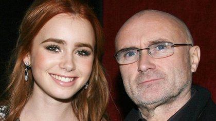 """Phil y su hija Lily Collins en la premiere de """"'The Blind Side"""" en 2009 (Shutterstock)"""