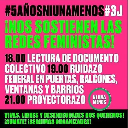 Actividades del quinto aniversario de la primera movilización para que no haya #NiUnaMenos.