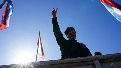 Grabois tras hablar en la marcha de esta tarde en La Rural (Franco Fafasuli)