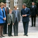 The late British royal HRH Diana, Princess of Wales with then husband HRH Prince Charles, and their sons, HRH Prince William and HRH Prince Harry on the occasion of William's first day at Eton College, September 1995, when he started his A'levels.