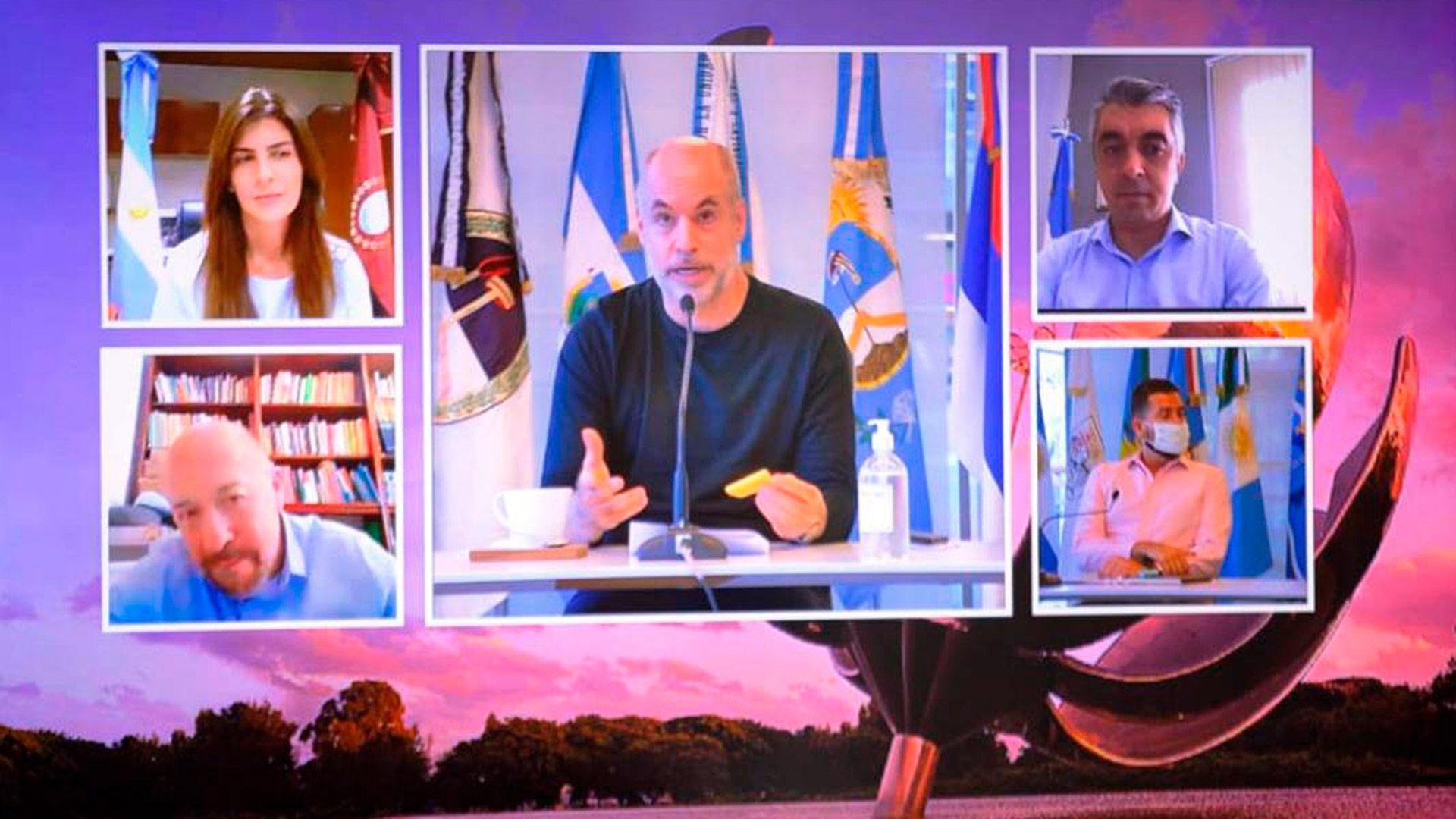 Horacio Rodríguez Larreta, Lucas Delfino y los intendentes de las ciudades de Salta y Luján de Cuyo