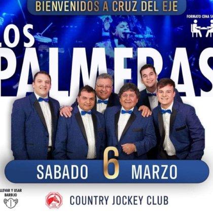 El afiche con el cual se anunciaba la presentación de Los Palmeras en Cruz del Eje