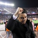 Marcelo Daniel Gallardo coach of Argentina's River Plate celebrates his team's 2-0 victory over Argentina's Boca Juniors during a Copa Libertadores semifinal first leg soccer match at the Monumental Antonio Vespucio Liberti stadium in Buenos Aires , Argentina, Tuesday, Oct. 1, 2019. (AP Photo/Gustavo Garello)
