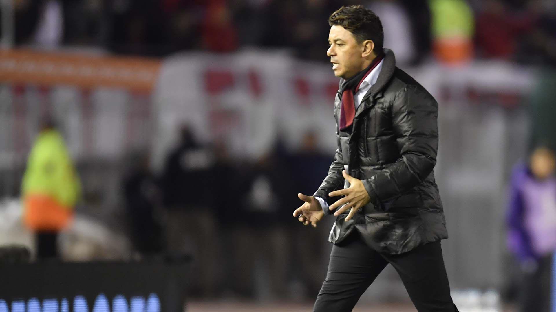 Marcelo Gallardo valoró el partido de River ante Cerro Porteño y evitó referirse al posible cruce con Boca en las semifinales de la Copa Libertadores(Télam)