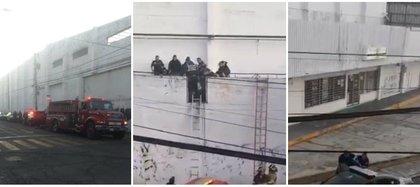 Fue rescatado por lo bomberos y elementos de Protección Civil para posteriormente ser arrestado y bajarlo del techo del inmueble  Foto: (Facebook)
