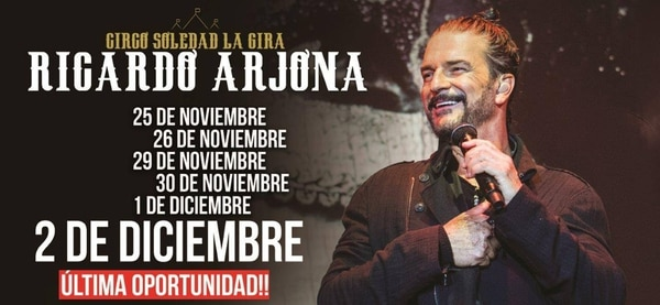 """La publicidad de la función de Arjona, con esa """"última oportunidad"""" que quedó trunca"""