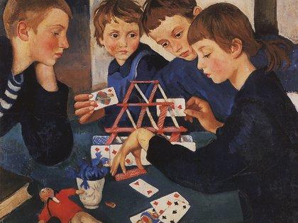 """En """"Casa de naipes"""" (1919),  Zinaída Serebriakova pinta a sus cuatro hijos tras la muerte de su esposo (Museo Estatal Ruso, San Petersburgo)"""