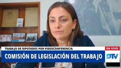 La diputada Vanesa Siley, presidenta de la Comisión de Legislación del Trabajo de Diputados, en la reunión informativa sobre el teletrabajo