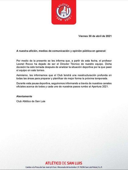 Comunicado del Atlético de San Luis (Foto: Twitter@AtletideSanLuis)