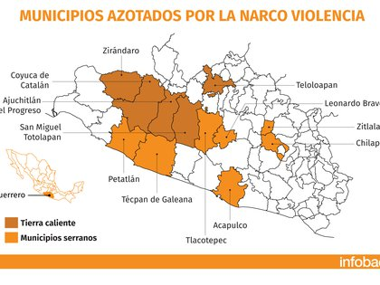 Guerrero cuenta con la presencia de al menos 40 organizaciones que buscan el control de la entidad (Mapa: Infobae México)