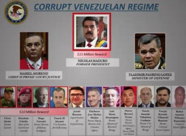 Resultado de imagen para Estados Unidos acusa a Nicolás Maduro de narcotráfico; ofrece 15 millones de dólares