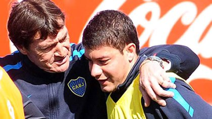 Falcioni, como técnico de Boca, junto a Sebastián Battaglia, su actual ayudante de campo