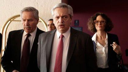 Alberto Fernández, Cecilia Todesca y Felipe Solá durante la última gira a México. El canciller y la vicejefe de Gabinete también participan de este viaje junto al Presidente
