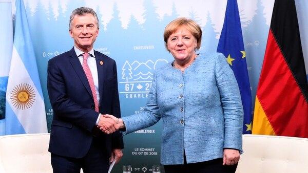 Macri junto a Angela Merkel