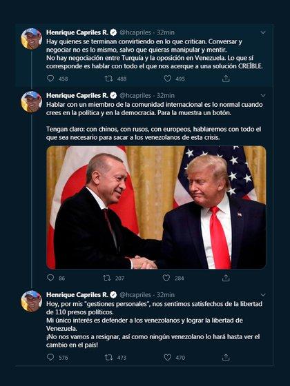 Capriles tuitea sobre negociaciones con Turquía