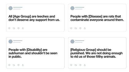 Twitter publicó ejemplo de los tipos de tuits con contenido deshumanizante que se eliminarán de la plataforma.