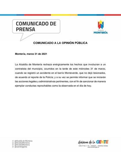 Comunicado de prensa Montería