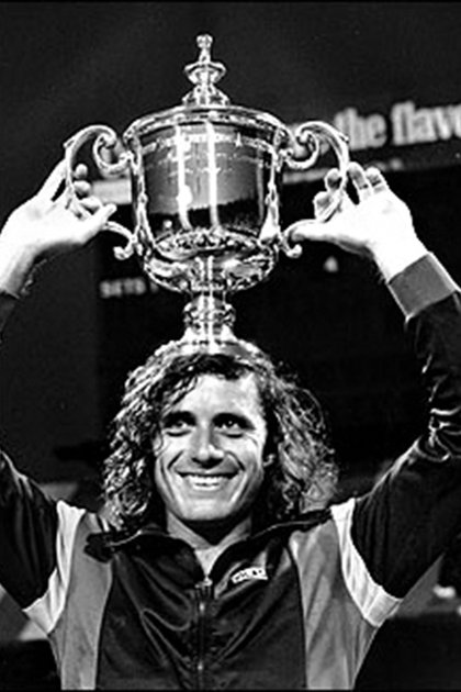 Guillermo Vilas tras vencer a Jimmy Connors en Forest Hills 1977 (Foto: AP)