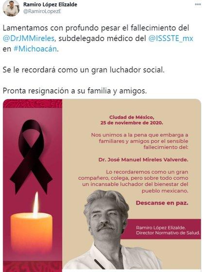 El tuit con el que se confirmó la muerte del exlíder de las autodefensas michoacanas (Foto: Cortesía)
