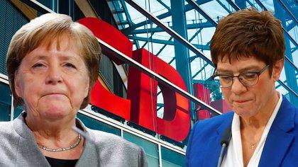 Angela Merkel, cancillera de Alemania, y Annegret Kramp-Karrenbauer, que renunció a ser su sucesora