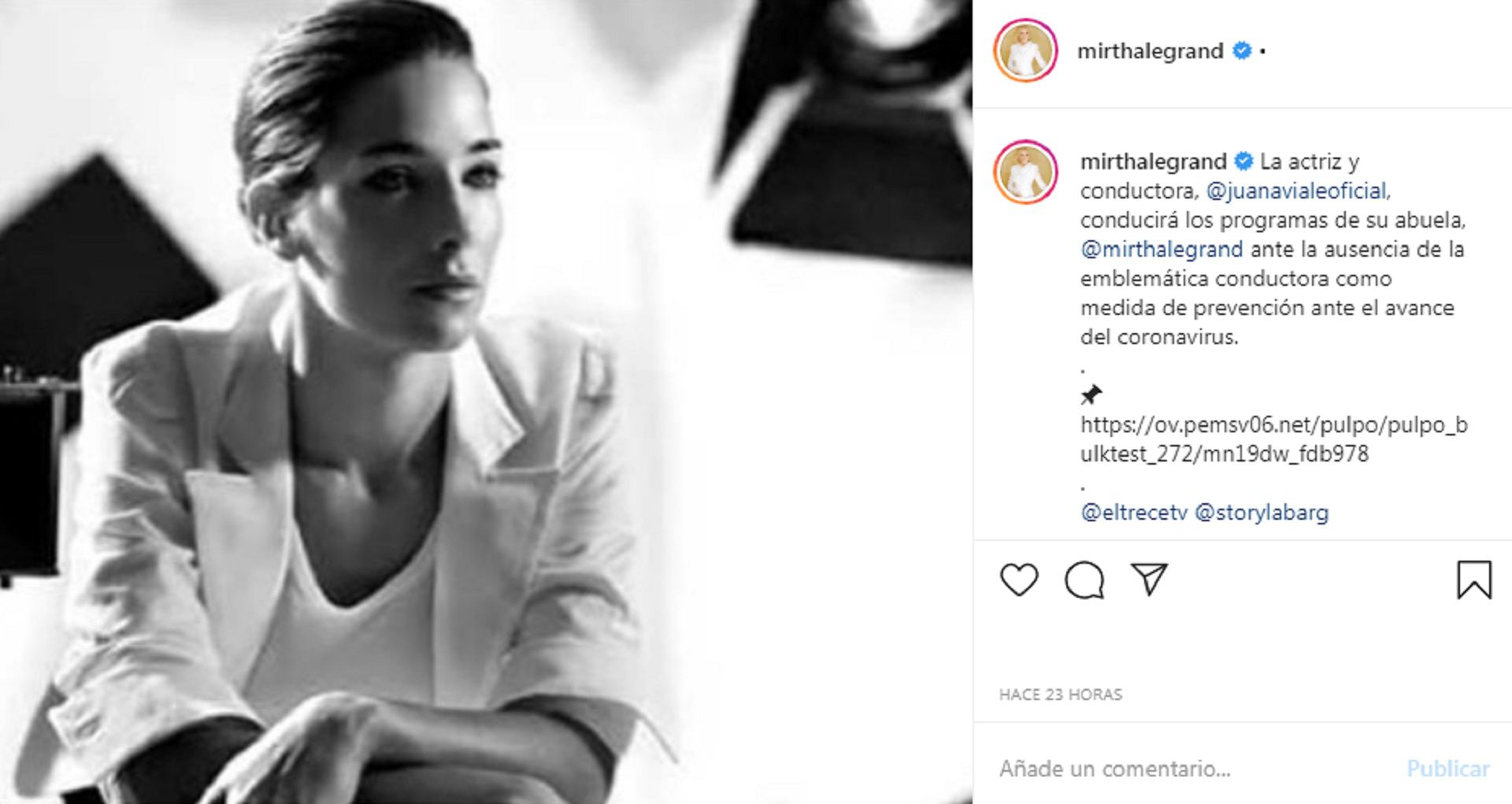 Desde las redes sociales de Mirtha anunciaron que Juana Viale la reemplazará en sus programas (Instagram)