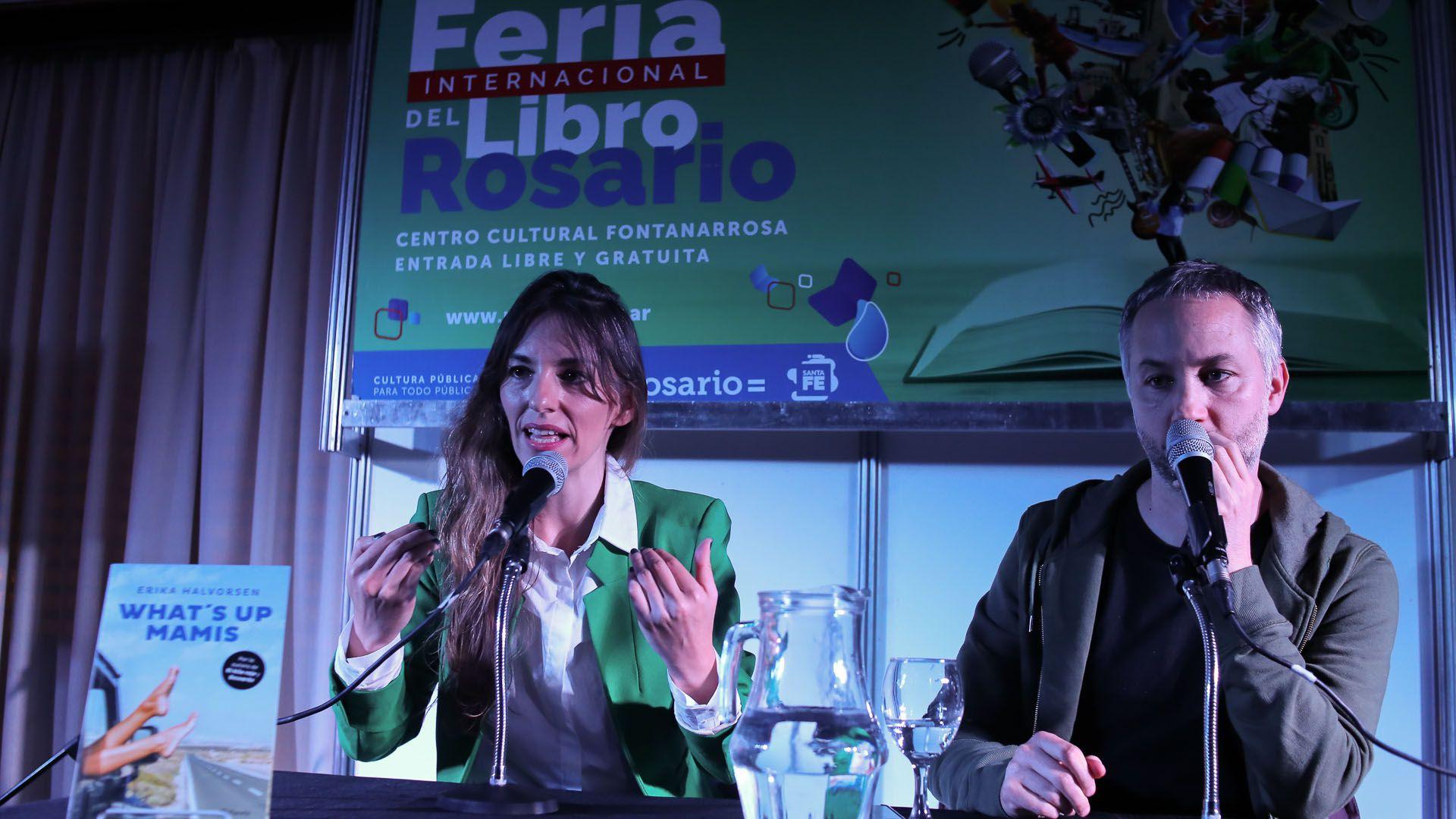 """Érika Halvorsen junto a Diego Iglesias en la presentación de """"What's up mamis"""""""