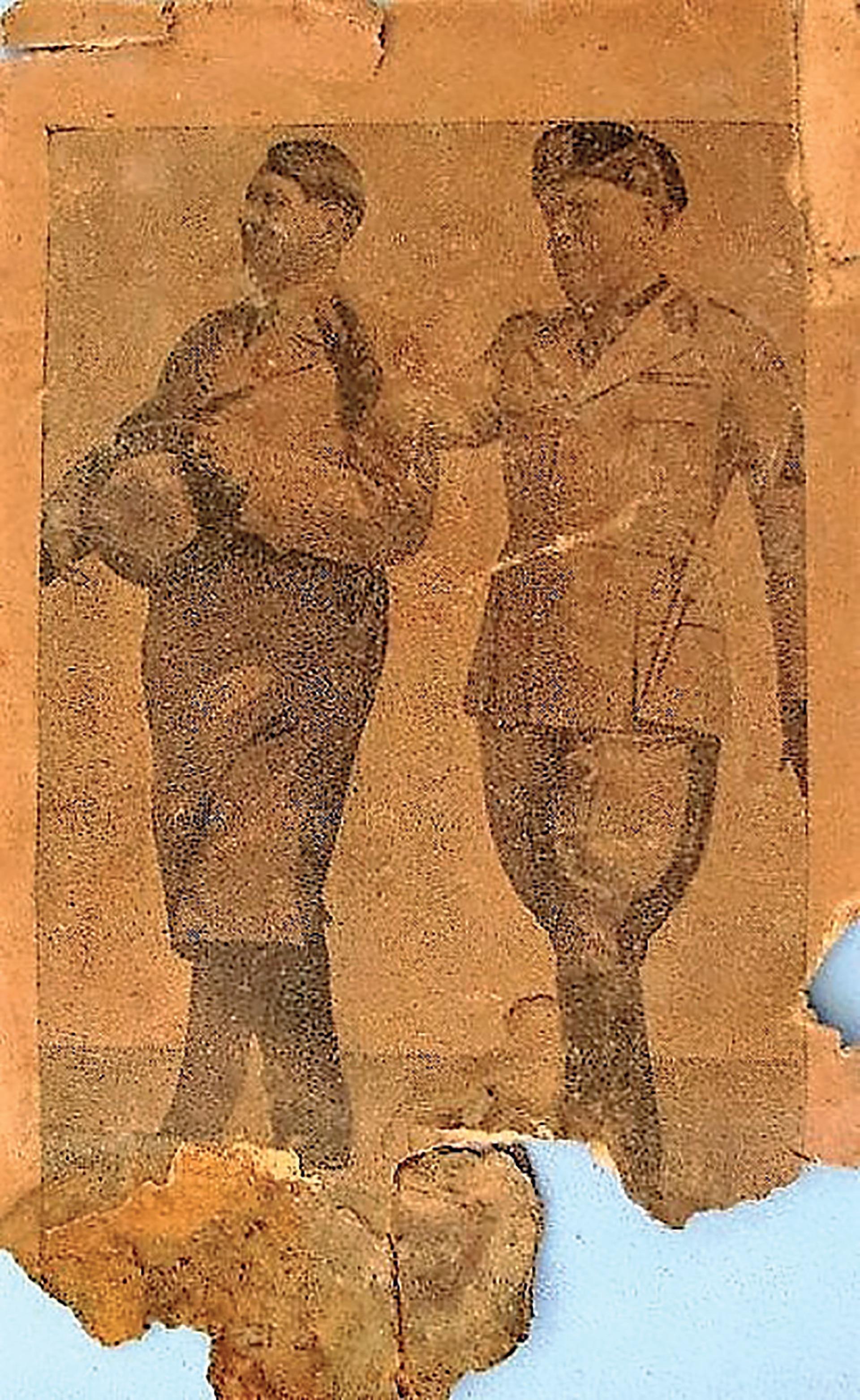 Adolf Hitler y Benito Mussolini en una vieja foto encontrada en el refugio