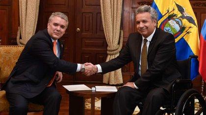Los presidente de Colombia, Iván Duque, y de Ecuador, Lenin Moreno. (Cortesía Presidencia)