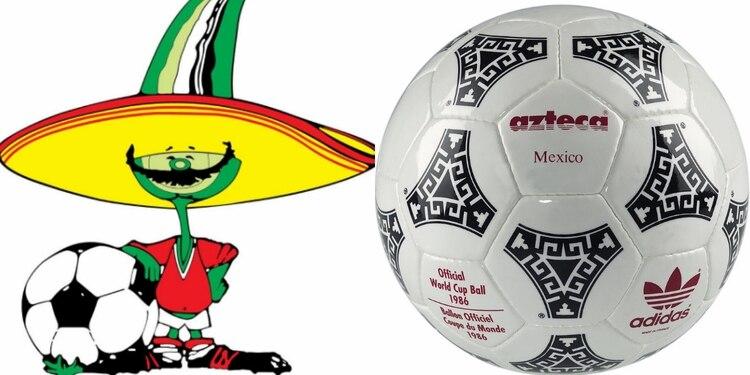 """La mascota del mundial fue un chile jalapeño con bigote apodado """"Pique"""", y el balón fue el Adidas Azteca México"""